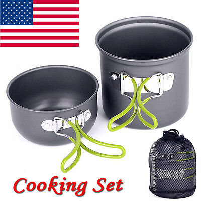 Outdoor Camping Hiking Backpacking Picnic Cookware Cook Cooking Pot Bowl Set hot