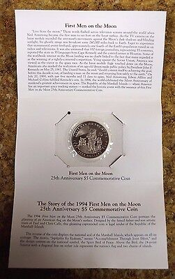 '94 Marshall Islands 1st Men on the Moon 25th Anniversary $5 Commemorative Coin*