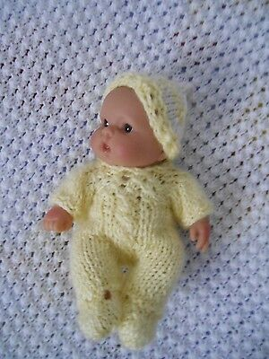"Doll Clothes fit 8"" 7in Yellow Hand knitted romper onesie set for husky baby"