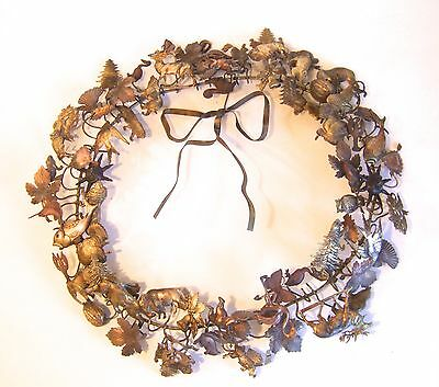 "Vintage Dresden Petite Choses 16"" Brass and Copper Wreath  68 Pieces"