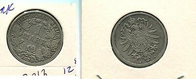 1874 A Germany 1 Mark Silver Coin Vf 7813G