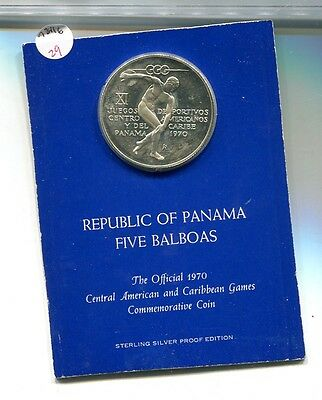 Panama 1970 5 Balboa Silver Coin Proof 7841G