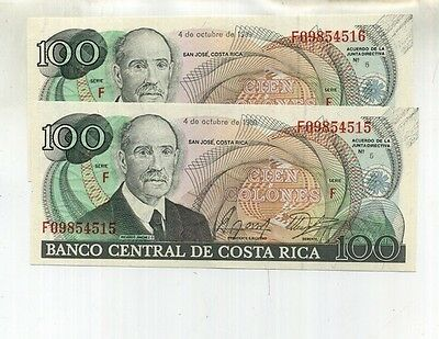 1989 Costa Rica 100 Colones 2 Consecutively Numbered Notes