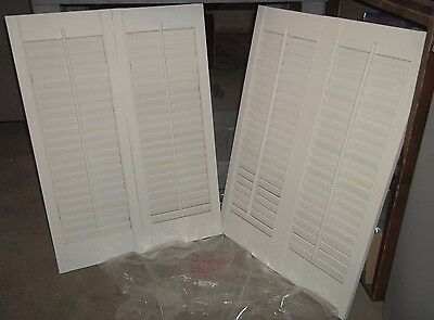 "4 Panels Louver Hinged Window Shutter Wood White 28-1/16"" X 20-1/16"" Deco (J2)"