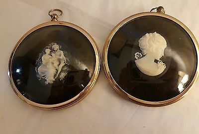Pair of Peter Bates Miniature Cameos Lady in Cameo & Boy and Girl