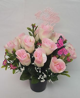 Artificial Grave Flower Mothers Day Arrangement All Round Pink Roses