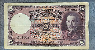 1935 Government Of The Straits Settlements 5 Dollar F-Vf