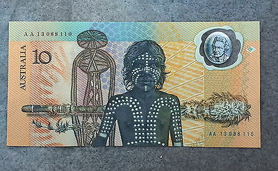 Australia 1988  Polymer 10 Dollar Commemorative Cu Original Folder Serialaa13088