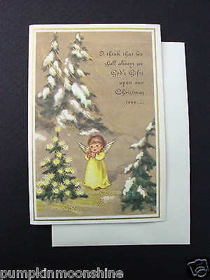 Vintage Unused Brownie Xmas Greeting Card Sweet Angel Adoring the Lit Xmas Tree