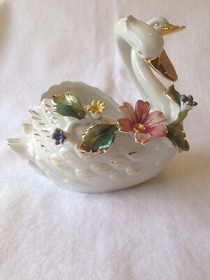 China Floral Swans. Great Condition.