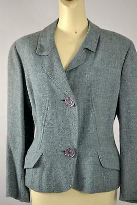 vintage 1950's French blue wool tweed blazer jacket estimated size large L