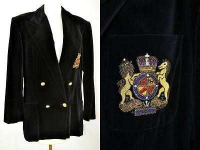 vintage Ralph Lauren preppy plush black VELVET blazer with Crown Crest size 14