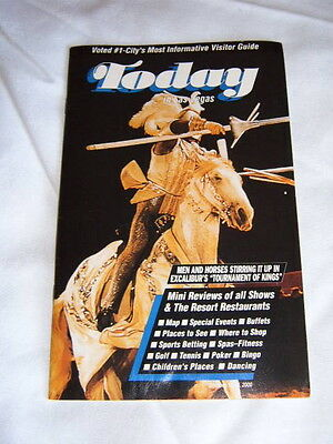 """VINTAGE LAS VEGAS GUIDE """"TODAY"""" MAGAZINE OCT 2000 - EXCALIBUR Jousting Knights"""