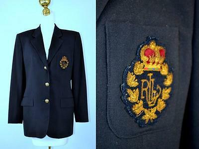 vintage Ralph Lauren preppy navy blue wool blazer with Crown Crest size 8