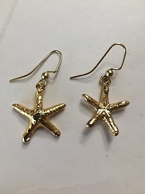 Vintage 24k Gold Dipped Starfish Earrings #1
