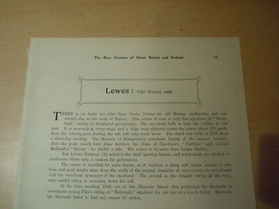 Very Rare Race Course Plan of Lewes Race Course 1908