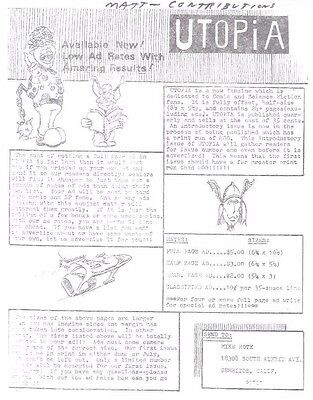 UTOPIA vintage flyer for comic fanzine (circa 1971)