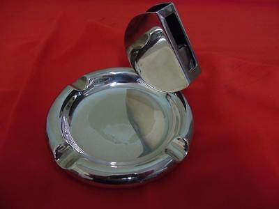 Vintage Elkington & Co 1936 Silverplate ashtray with attached matchbox holder