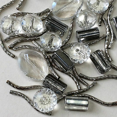 Mixed lot of beads crystal cut glass and metal twists jewellery making crafts
