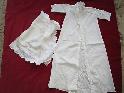 Antique White Eyelet Hand Embroidery Christening Gown pillow case cotton fabric