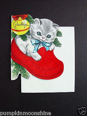 #F17- Vintage Unused Xmas Greeting Card Sweet White Kitten in Red Flocked Sock