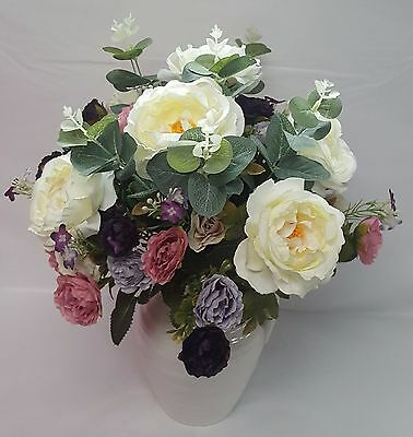 Artificial Flower Arrangement In Ceramic Jug Mothers Day Birthday Gift