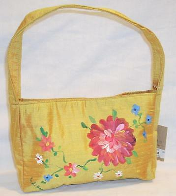 Vintage Petro Zillia Small Handbag Purse Yellow w/Hand Painted Flowers
