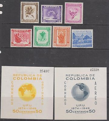 COLOMBIA - 1950.  UPU Anniv -Set of 7 + 2 x M/Sheets, MH