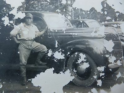 WWII Japanese Soldier Photo w Vintage Automobiles Imperial Japan Stamp WWII
