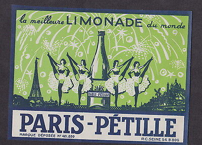 Ancienne étiquette  France Limonade  BN12881 Paris pétille