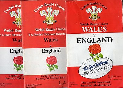 3 Wales v England Rugby Programmes