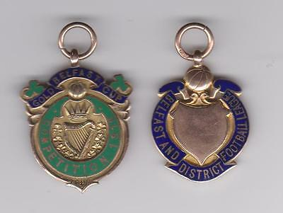 LINFIELD. 1915/16. GOLD CUP WINNERS + BELFAST AND DISTRICT LEAGUE WINNERS. 9 ct
