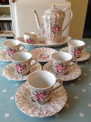 Vintage Wade Royal Victoria 14 Piece Coffee Collection. Great Colours.