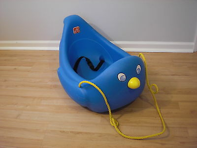 RARE Vintage STEP 2 Blue Penguin Sled w/Seatbelt Little Kids Tikes/Toddlers VGC