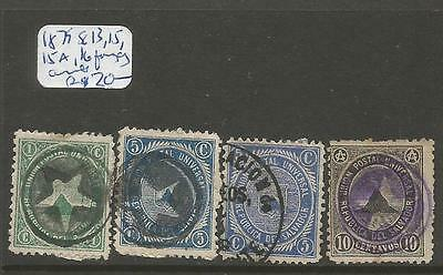 El Salvador 1879 SC 13, 15, 15a, 16 Fancy Cancels (6cqs)