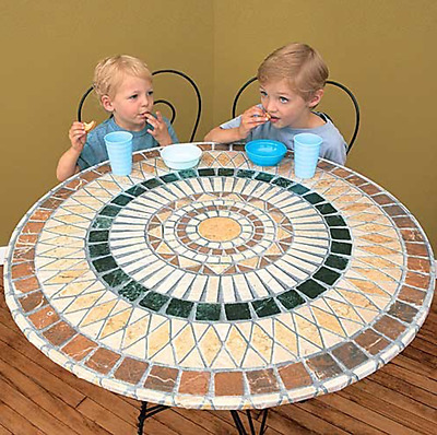Elasticized Mosaic Round Table Cover 48 in Tuscan Patio Outdoor Kitchen