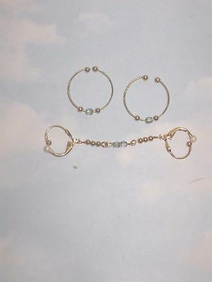 The Gold Allure  Non Piercing Nipple Rings  &  Double Body  Adornment  Set