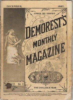 """Demorest's Monthly Magazine  December 1887,  Lots of Christmas """"Stuff"""""""