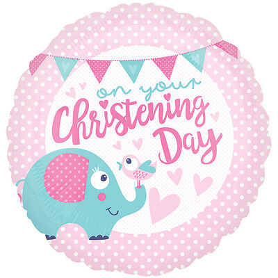 "18/"" CHRISTENING DAY PINK GIRL HELIUM FOIL BALLOON PARTY FB1126 se"