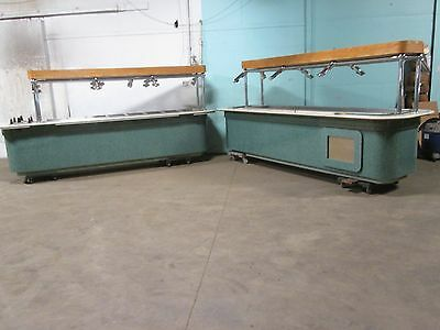 LOT OF (2) HD COMMERCIAL HOT/COLD  BUFFET TABLES w/SNEEZE GUARD, PLATE DISPENSER