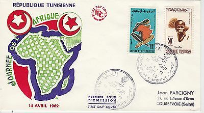 First day cover, Tunisia, Scott #407-408, Africa Freedom Day, 1962