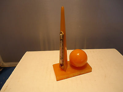 1939 New York Worlds Fair Trylon Perisphere Butterscotch Bakelite Thermometer