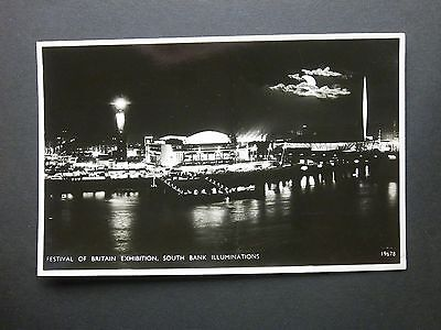 1951 Festival of Britain Exhibition South Bank Illuminations RP Salmon Postcard