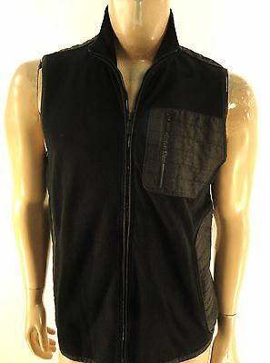 CALVIN KLEIN NEW MENS $89.50 BLACK FLEECE FULL ZIP JACKET VEST sz- M MEDIUM