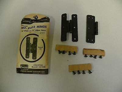 "Pr NOS Amerock Colonial 3/8"" Offset Cabinet Door Hinge Black Finish E1652 (A2)"