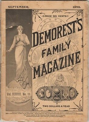 Demorest's Monthly Magazine September 1892,  Great stories prints and engravings