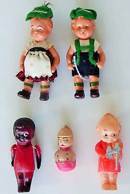 """Vintage Marked Occupied Japan Girl - Boys Celluloid Jointed Toys 3 1/4 - 1"""" Tall"""