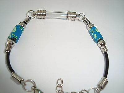 "Custom made Name on Rice Bracelet with tube vial & teal beads adj 7.5""-8.5"""