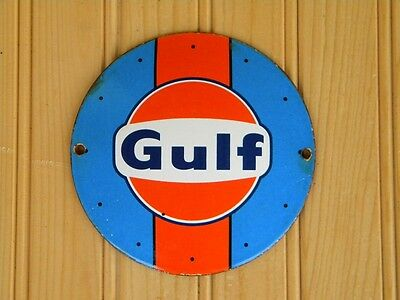 "Gulf Porcelain Metal Sign~4-3/4"" Le Mans Gas Station Oil Pump Advertising Garage"