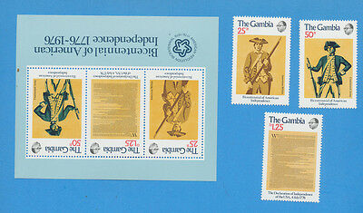 THE GAMBIA - scott 335-337a  VFMNH set & S/S for 1976 USA Bicentennial